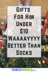 Tired of giving socks? Here's some great ideas under $10 that you can give that lucky guy in your life that will rock his world. |Gifts for Him | Christmas gift ideas for him |