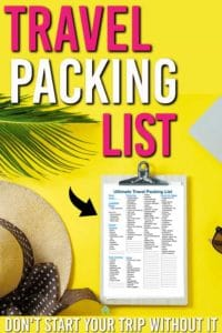 travel packing list free printable