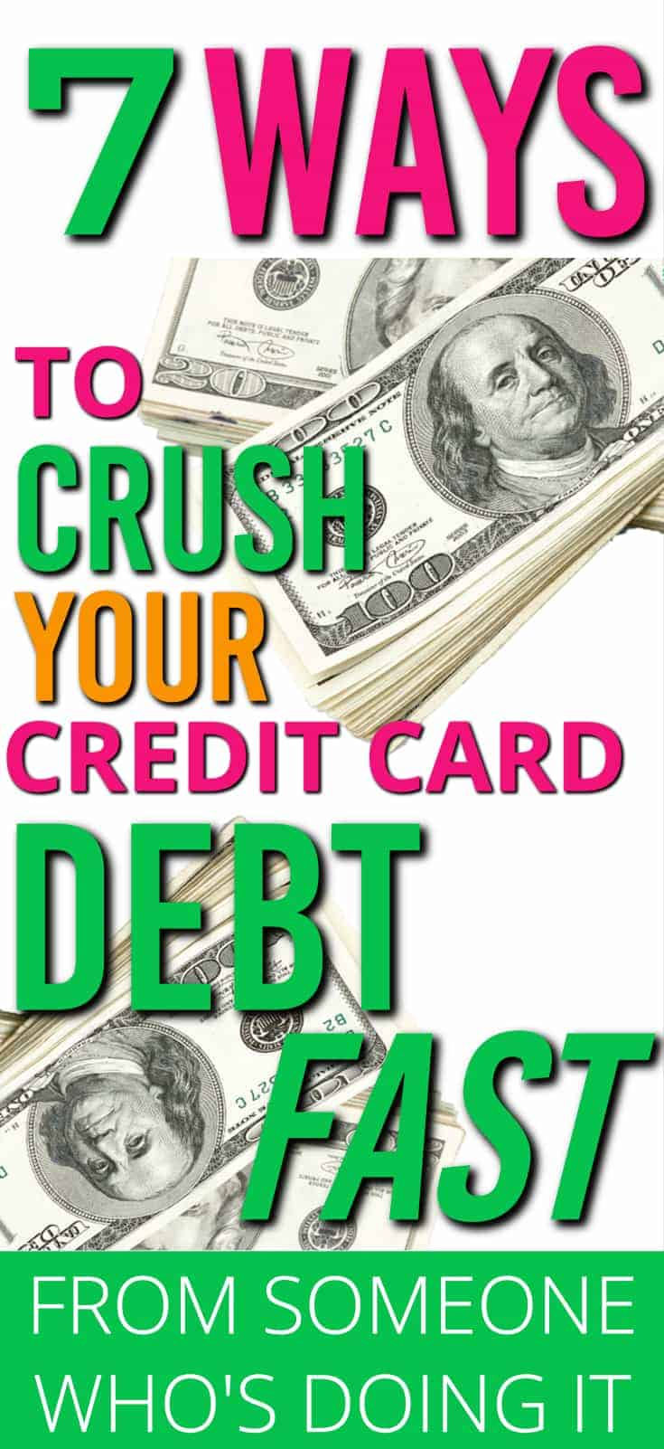 Credit card debt should be the first thing you pay off in your debt free journey. Here are 7 ways to get rid of credit card debt fast | Paying off credit card debt | How to get rid of Credit card debt |