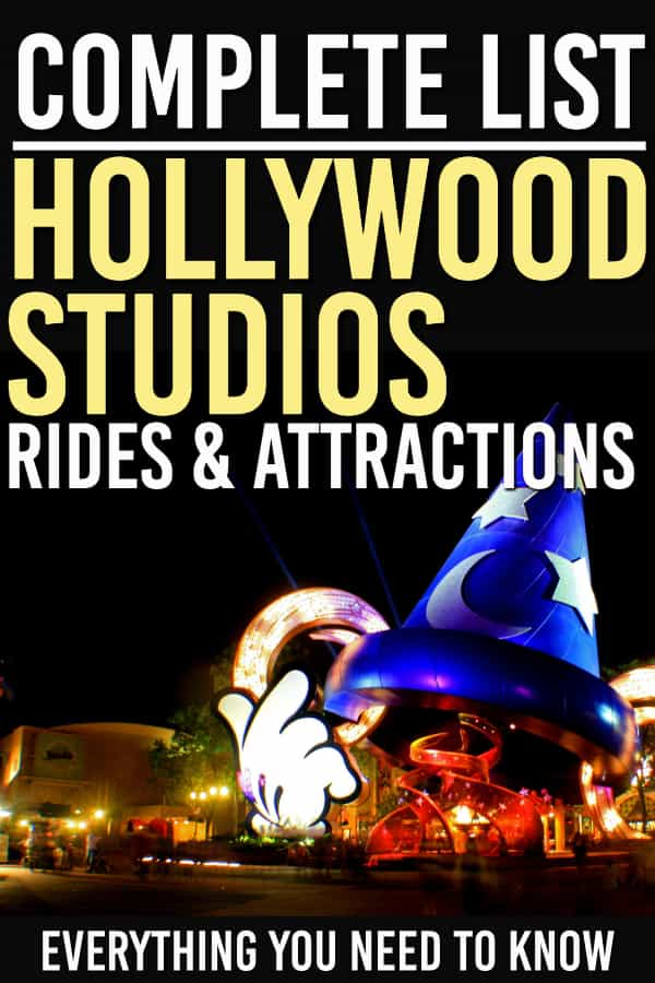 Looking for the complete list of Disney World Hollywood Studio Rides? We've got all of the rides and attractions at Hollywood Studios here so you can plan out your day with the best results! #disney #disneyworld #wdw #hollywoodstudios #familytravel