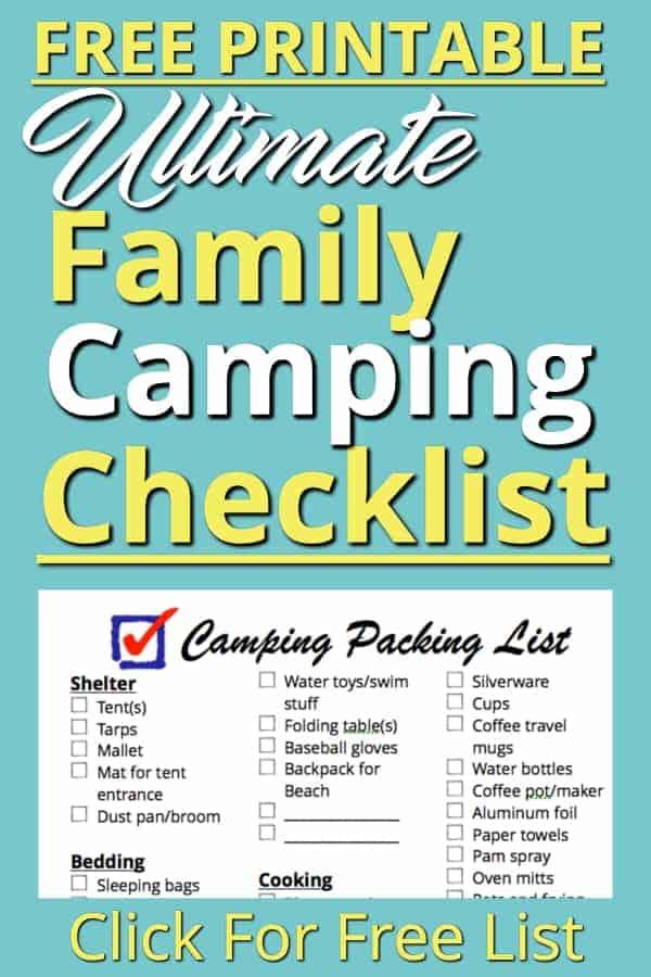 family camping checklist pdf