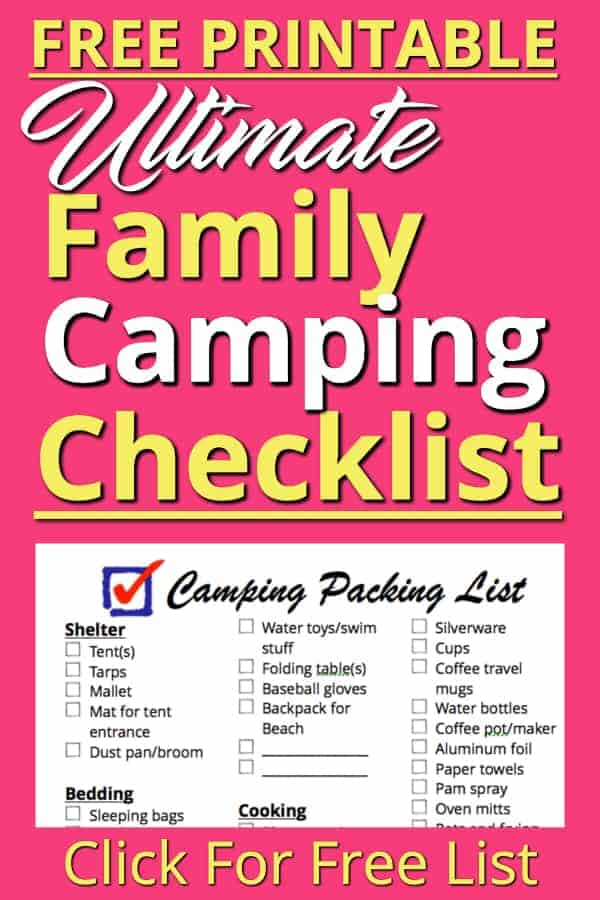 This is our Family Camping Checklist! This FREE printable is the packing list we use to pack everything we need to go camping. We have everything we ever need on here. Use this packing list to get everything you need together quickly so you can avoid the stress of making sure you have everything.