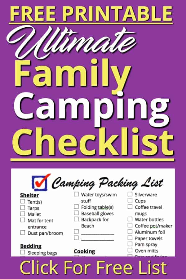 This is our Family Camping Checklist! This FREE printable is the packing list we use to pack everything we need to go camping. We have everything we ever need on here. Use this packing list to get everything you need together quickly so you can avoid the stress of making sure you have everything. #camping #camp #checklist #campingchecklist #printable #freeprintable #free