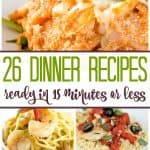 Need some quick recipes that can be made in 15 minutes? Here are over 25 new recipes for you to try out with your family so you can get meals out of the way and get on with your evenings activities.
