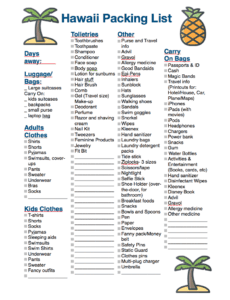 image regarding Printable Packing List for Hawaii known as Hawaii Packing Record: Every thing Yourself Need to have for an Island Holiday
