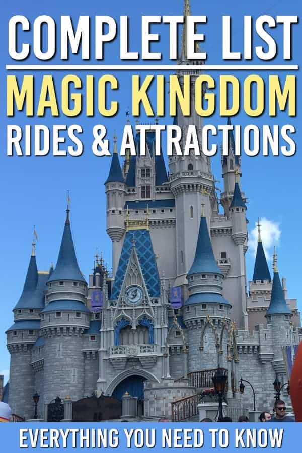 Wondering what you can do in the Magic Kingdom? Here is the complete list of Magic Kingdom rides and attractions. Here are all the rides and attractions you can see in the Magic Kingdom. #waltdisney #wdw #disneyworld #magickingdom #family #familytravel #rides